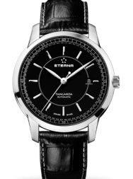Eterna Tangaroa Three-Hands black leather black