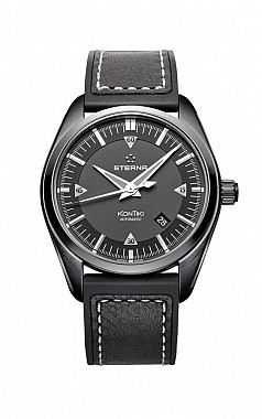 Eterna Kontiki Date black rubber/leather PVD