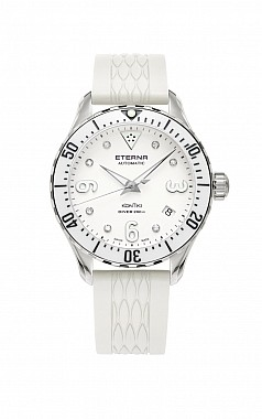 Eterna Lady Kontiki Diver white 7 diamonds rubber
