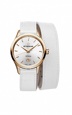 Eterna Artena Lady silver white leather gold