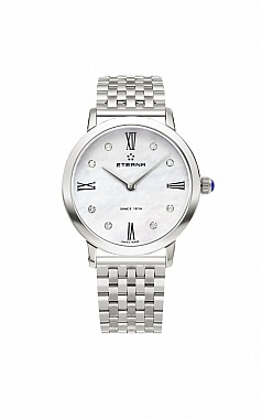 Eterna Eternity For Her Quartz 32 white MOP endowed with 8 diamonds steel