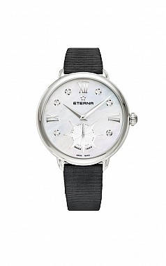 Eterna Lady Eterna Small Second 34 white MOP endowed with 6 diamonds textile black