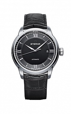 Eterna Adventic Date black leather