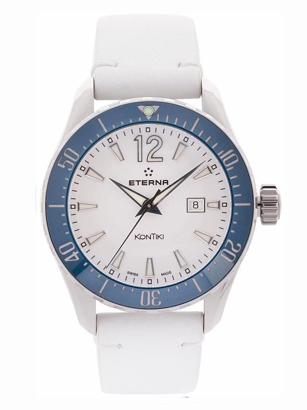 09bf3cab7fb Eterna Lady KonTiki Diver Quartz White Blue