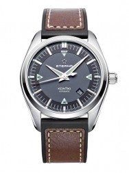 Eterna Kontiki Date black rubber/brown leather