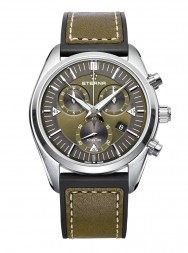 Eterna Kontiki Quartz Chronograph kaki rubber/leather