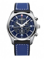 Eterna Kontiki Quartz Chronograph blue rubber/leather