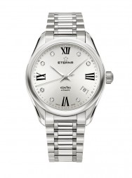 Eterna Lady Kontiki Automatic silver endowed with 7 diamonds steel