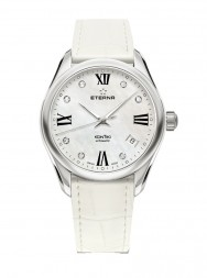 Eterna Lady Kontiki Automatic White MOP endowed with 7 diamonds leather