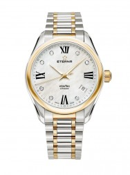 Eterna Lady Kontiki Automatic White MOP endowed with 7 diamonds steel bicolor