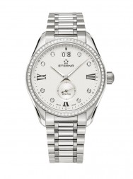 Eterna Lady Kontiki Quartz silver endowed with 8 diamonds steel  diamonds