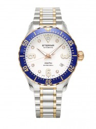 Eterna Lady Kontiki Diver white 7 diamonds steel bicolor