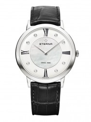 Eterna Eternity For Her Quartz 40 silver and white MOP endowed with 8 diamonds leather