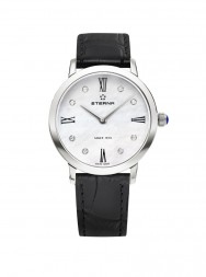 Eterna Eternity For Her Quartz 32 white MOP endowed with 8 diamonds leather