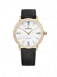 Eterna Eternity For Her Quartz 32 white MOP rose gold diamonds leather