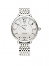 Eterna Lady Eterna Quartz opalin MOP endowed with 10 diamonds steel