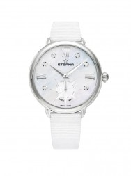 Eterna Lady Eterna Small Second 34 white MOP endowed with 6 diamonds textile white