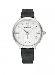 Eterna Lady Eterna Small Second 34 white endowed with 6 diamonds textile black