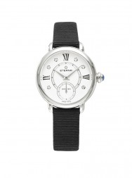 Eterna Lady Eterna Small Second 28 white endowed with 6 diamonds textile black
