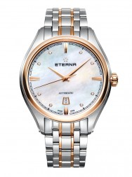 Eterna Avant-Garde Date 42 white MOP endowed with 8 diamonds steel gold