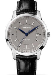 Eterna Tangaroa Three-Hands grey leather black