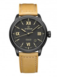 Eterna Adventic Date black leather PVD