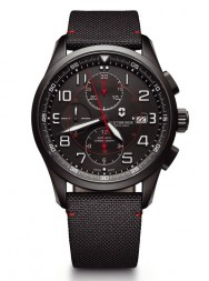 Victorinox AirBoss Mechanical Chronograph Black Edition leather