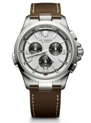 Victorinox Night Vision Chronograph silver leather