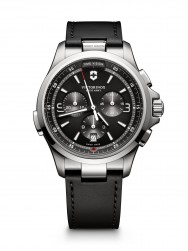 Victorinox Night Vision Chronograph dark grey leather